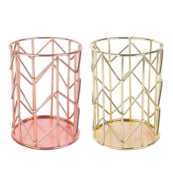 Luxury gold metal Storage pencil holder wire baskets small metal baskets MP-10