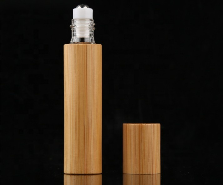 Hot sale 3ml 5ml 10ml small bamboo glass roller ball bottles for cosmetic e liquid perfume essential oil screw cap