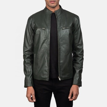 Men Plain Green Color Leather Jacket Top Quality Plus size Leather Jacket 100% Genuine Leather Jacket