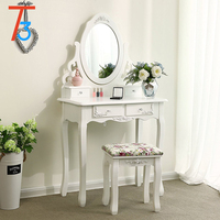 Graceful Dresser Wood New White Portable Wooden Dressing Table Set