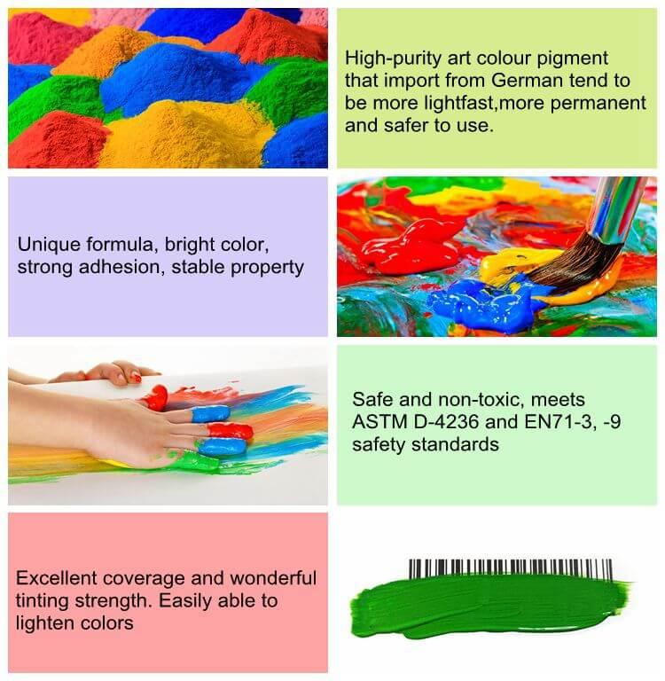 12 colores 12ml tubo básico de pintura acrílica para manualidades, estudiante