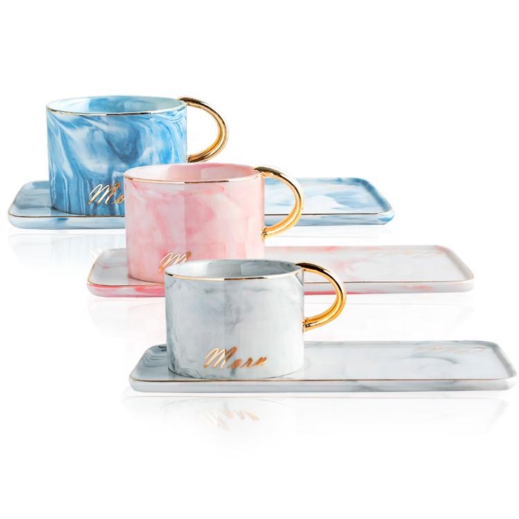 도매 대리석 효과 세라믹 에스프레소 커피 컵 사각형 디저트 접시와 골든 핸들
