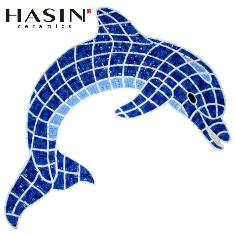 Hasinใต้น้ำWorld Dolhpinสัตว์ว่ายน้ำแก้วสีฟ้าบ่อปลาโมเสคDolfinกระเบื้อง