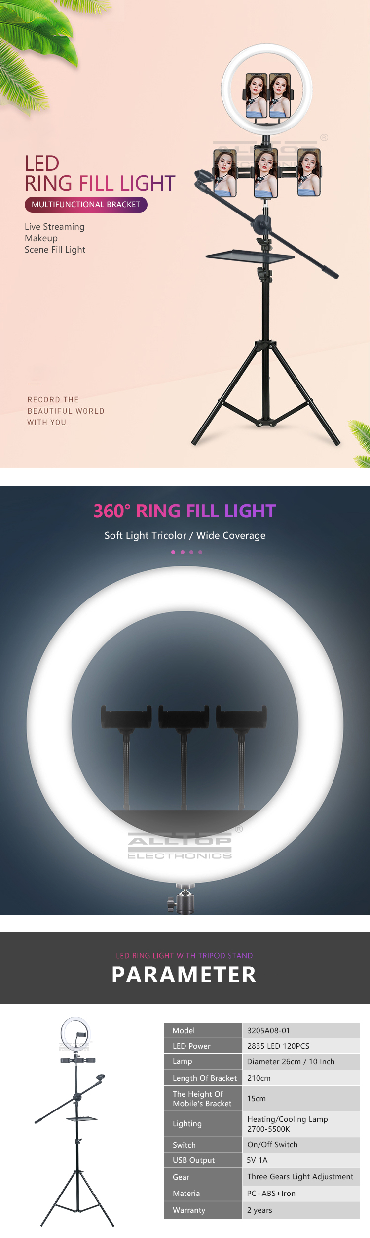 ALLTOP Video Light Dimmable USB Ring Lamp Photography for Makeup Youtube Tiktok LED Selfie Ring Light