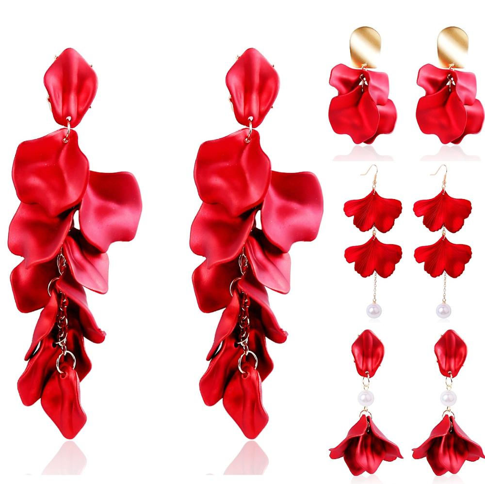 Large Statement Red Resin Maple Leaf Floral Petal Dangle <strong>Earrings</strong> Long Acrylic <strong>Rose</strong> <strong>Flower</strong> <strong>Earrings</strong> for Bridal Wedding Pageant