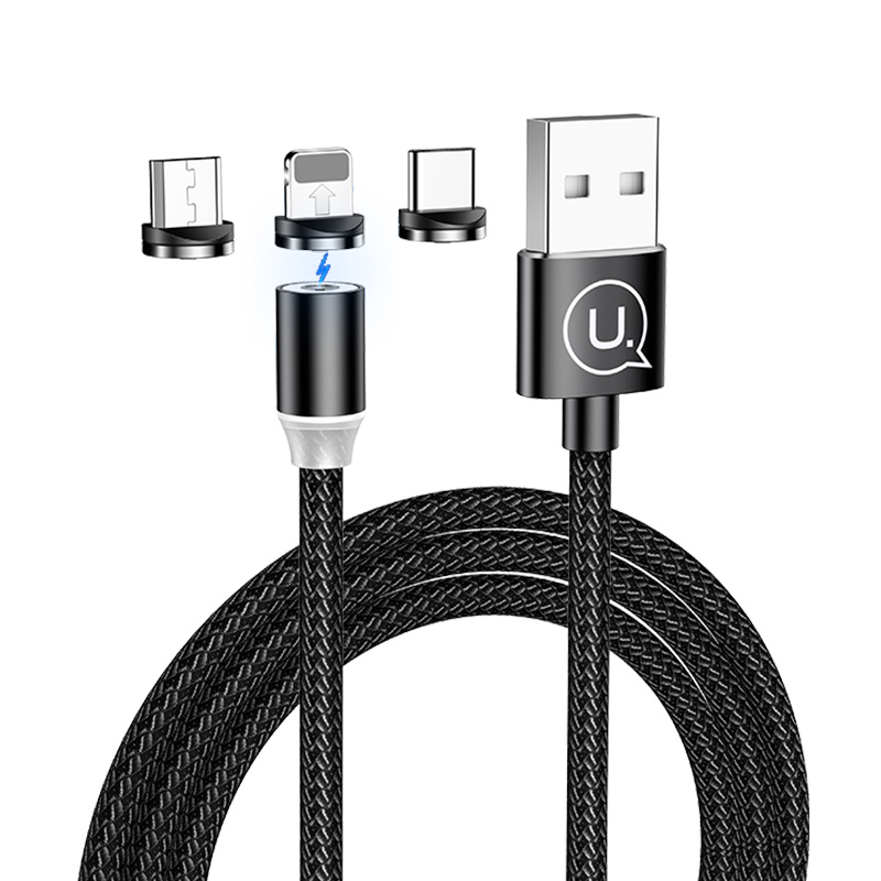 USAMS 3in1 Magnetic <strong>Cable</strong> Factory Price Nylon Braided USB <strong>Cable</strong>