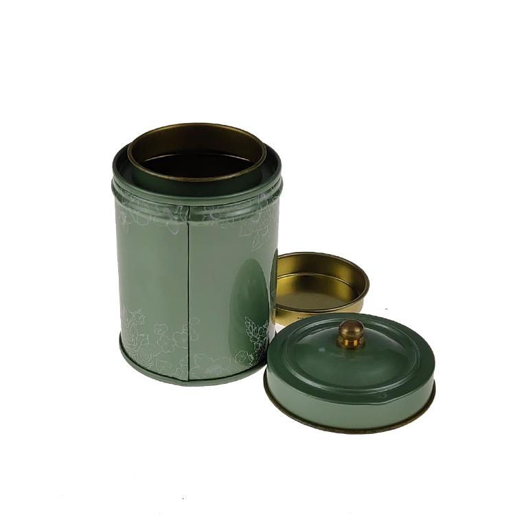 58*80MM de qualité alimentaire vintage boîte à thé ronde avec une bonne étanchéité double couches couvercles