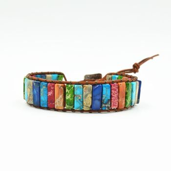Bohemia Handmade Natural Stone Tube Beads Multi Color Leather Wrap Chakra Bracelet