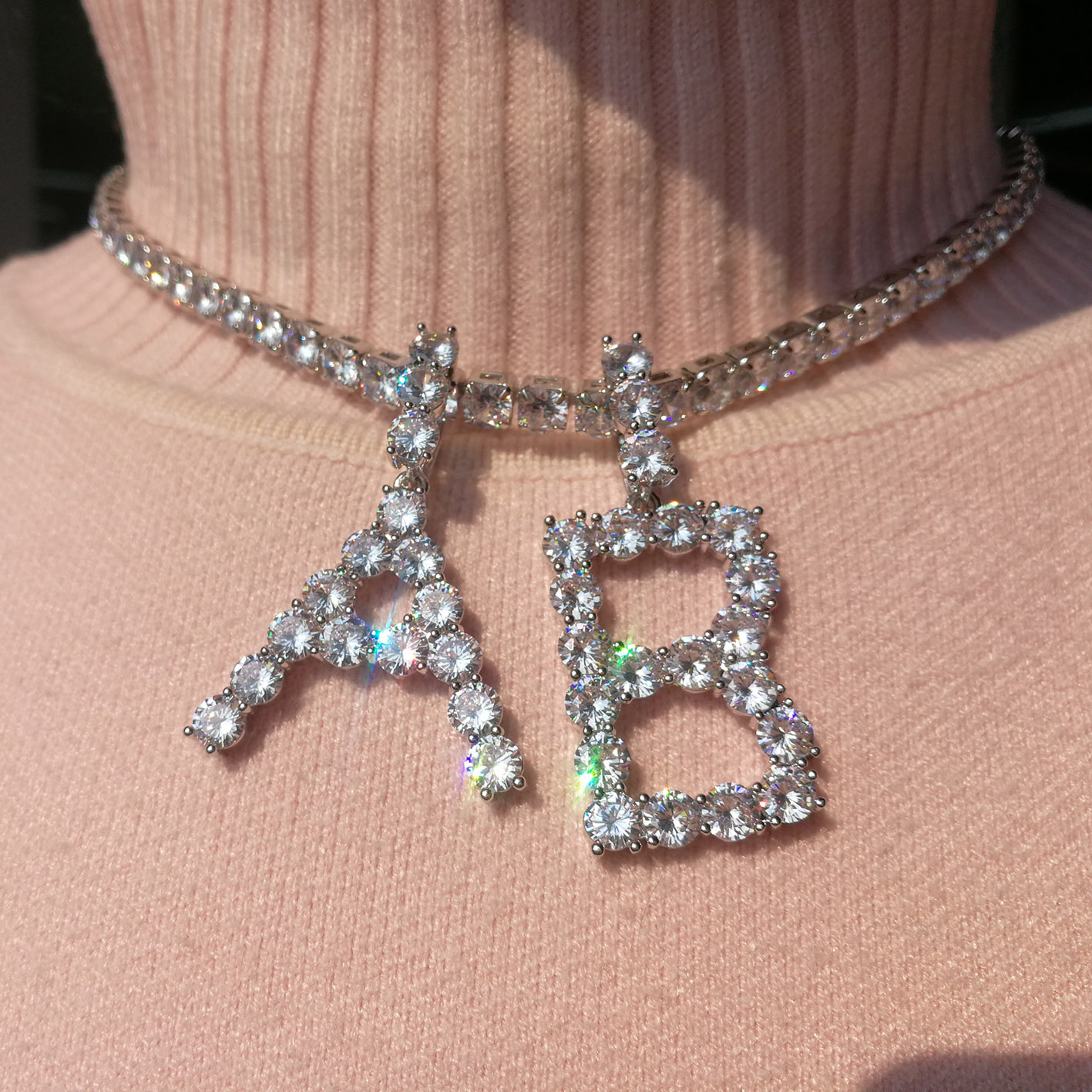 wholesale foxi jewelry big 5mm stone alphabet diamond tennis letter initial <strong>necklace</strong>
