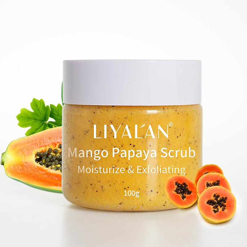 Private label Natural plants scrub   Wholesale custom body moisturize whitening exfoliating vegan mango papaya scrub