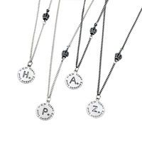 Zooying Retro Initial Vintage Silver Women's Disc Pendant With Engrave Letter