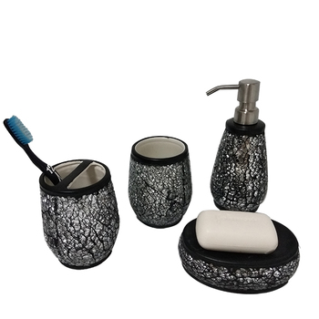Black crackle glass ceramic bathroom accessories set