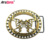 China Manufacturer Maker big double pin western cowboy buckle gold belt buckles
