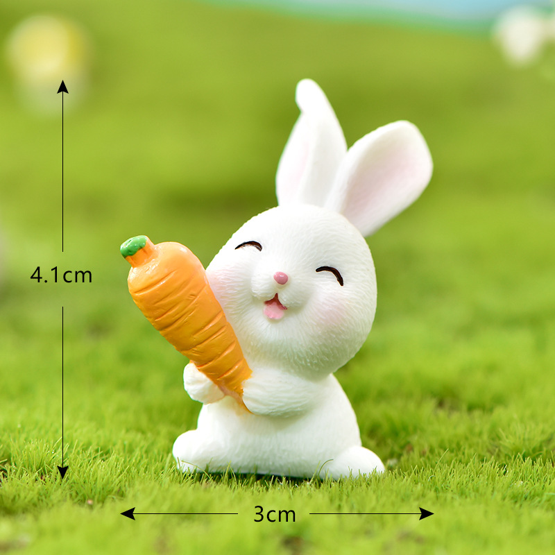 1 Set Cute Rabbit Carrots House Horticultural Plants Resin Accessories For Micro Landscape Decoration Animal Cartoon Mini Figure