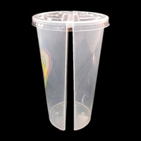 PP juice bottle plastic double enjoy cup clear split twin cup logo printed