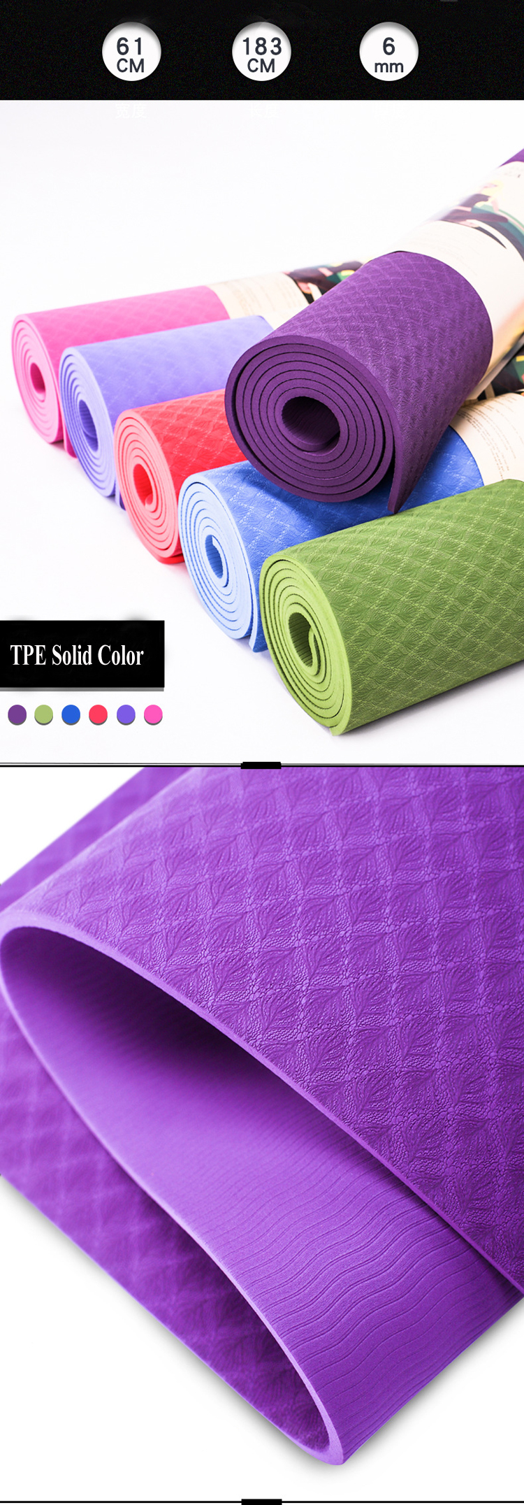Gruper Thick Yoga Mat,Classic Non Slip Exercise & Fitness Mats with Carrying Strap,Workout Mat for All Types of Yoga