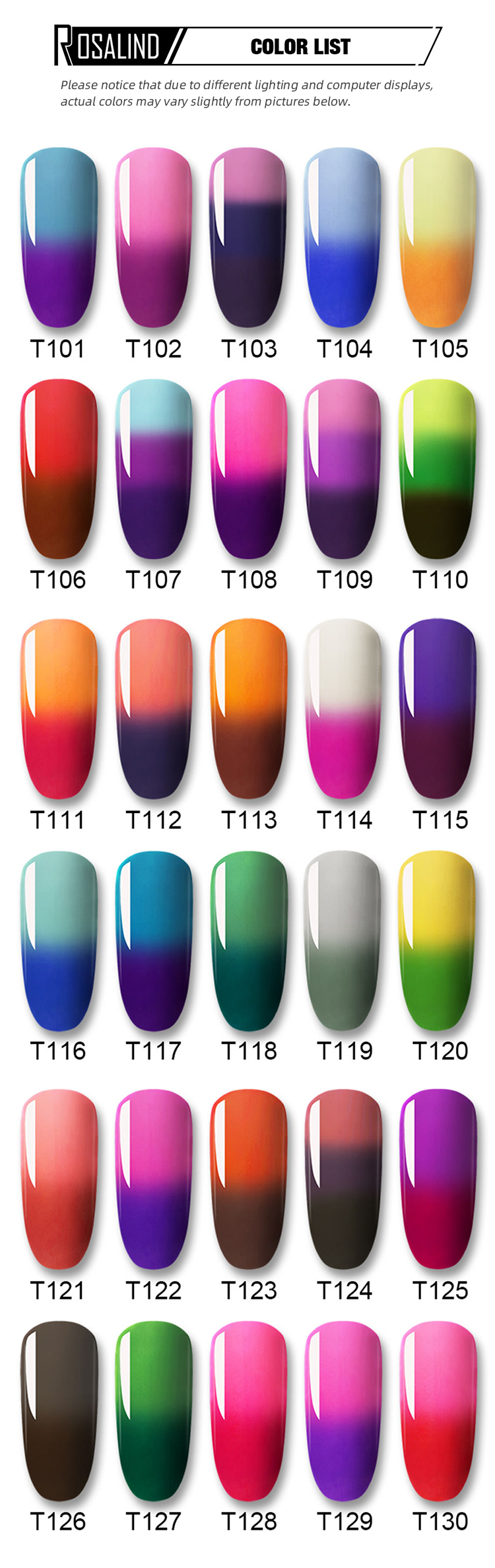 Rosalind semi permanent temperature color changing uv gel 7ml soak off gel nail polish with MSDS report