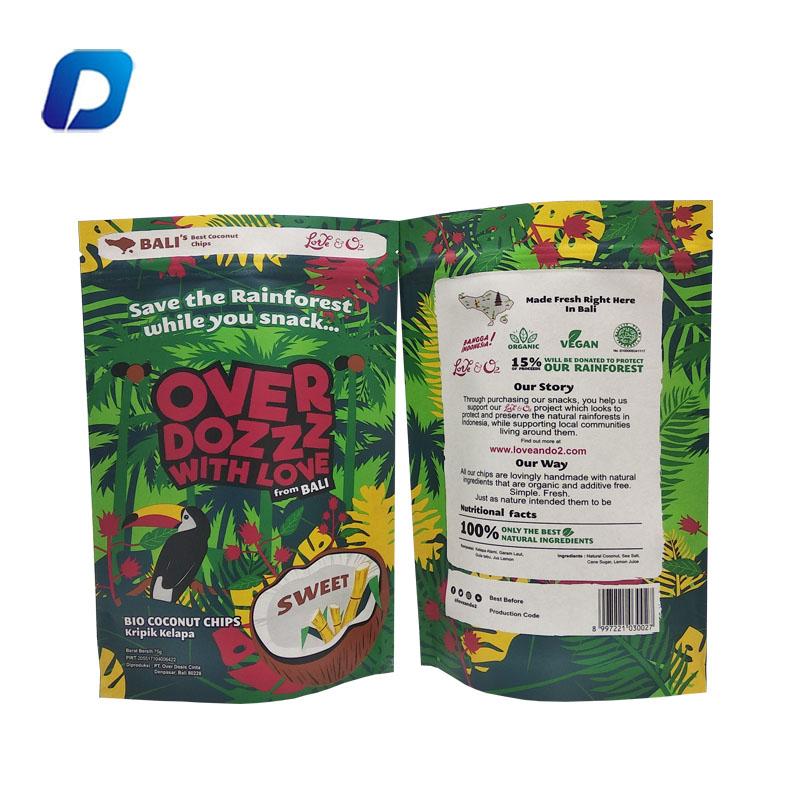 Embalagens Stand up pouch com zíper sacos de papel kraft saco de embalagem de alimentos grau de plástico