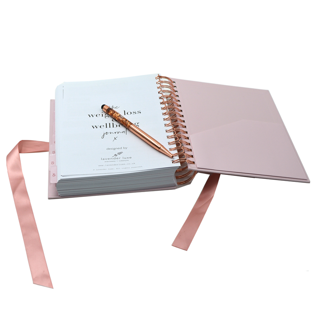 Low Moq Custom Printed Hardcover Monthly Weekly Cheap Notebook With Ribbon