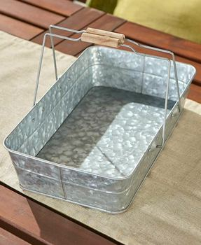 Galvanized Metal Serving Tray Caddy Primitive Rustic Country Farmhouse Decor