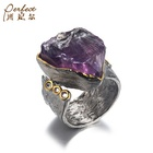 Sterling Silver Silver Impressive Look Big Amethyst Stone 925 Sterling Silver Handmade Ring With White Zircon Wholesaler