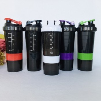 17OZ 500/600ml BPA Free Shaker Bottle Sports Fitness Gym 3 Layers Multifunction Milk  Protein Shaker  Mixer Bottle
