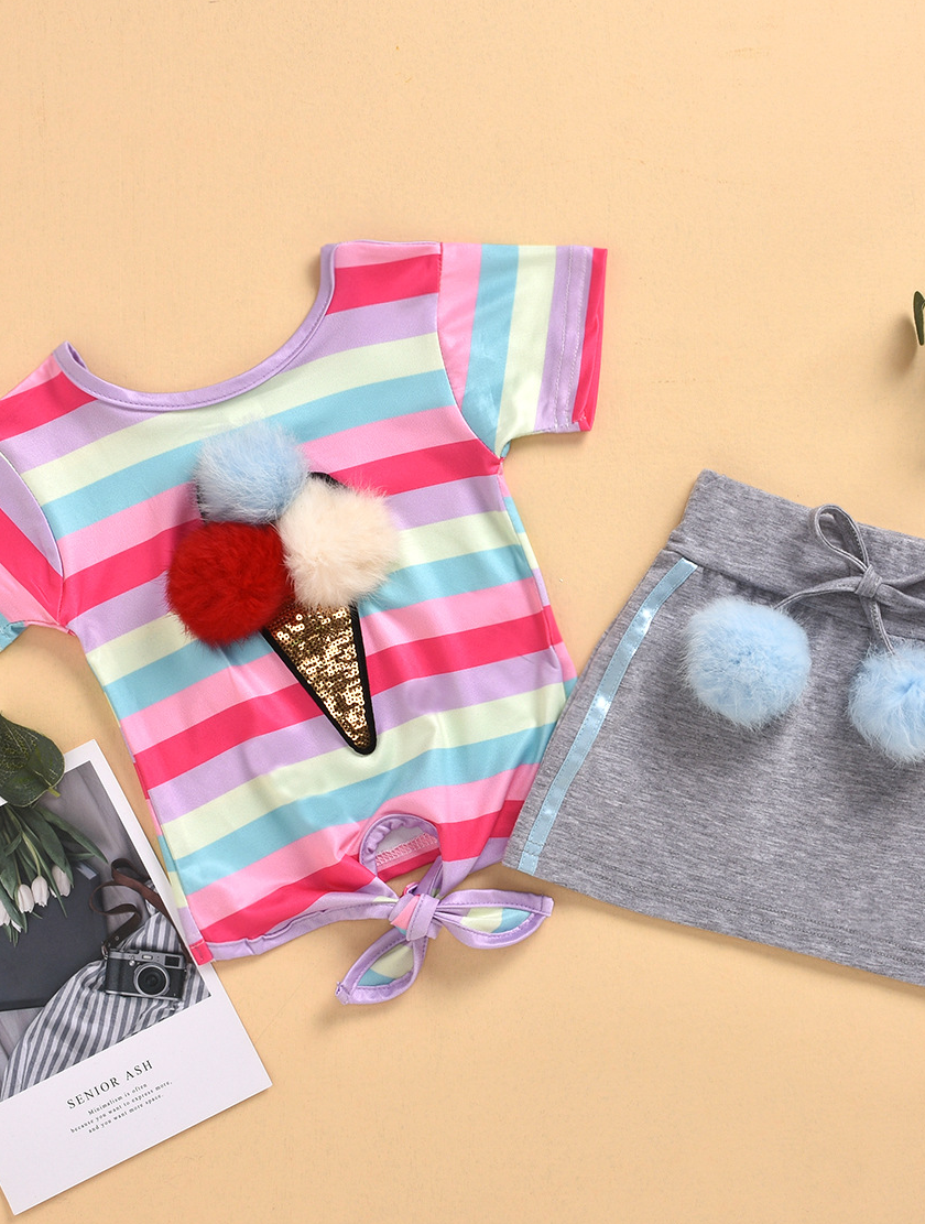 Summer Hot selling  baby girl skirt set rainbow plush ball accessions baby girl clothing sets kids
