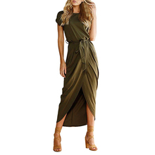 Custom Mode Neue frauen <span class=keywords><strong>Casual</strong></span> Kurzarm Kleid Slit Feste <span class=keywords><strong>Party</strong></span> Sommer Lange Maxi Kleid