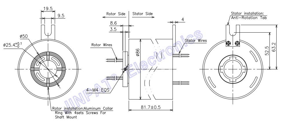 Przez pierścień ślizgowy z otworem bezobsługowa konserwacja 18 Obwód 5A może być stosowany do urządzeń energetyki wiatrowej