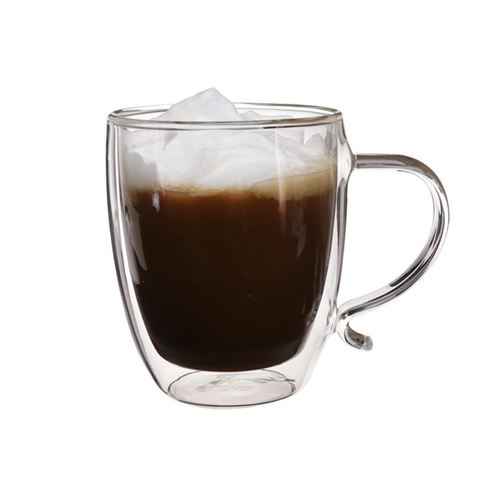 High borosilicate transparent 560ml coffee cup double wall drinking <strong>glass</strong> with design handle set 2