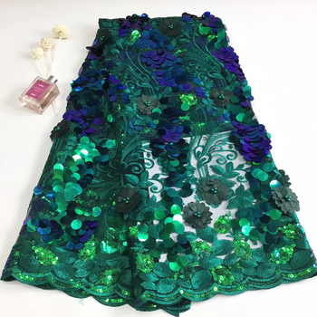 2019 African 3D Peacock Green Embroidery Beaded Lace Fabric Sequin Tulle Lace Fabric