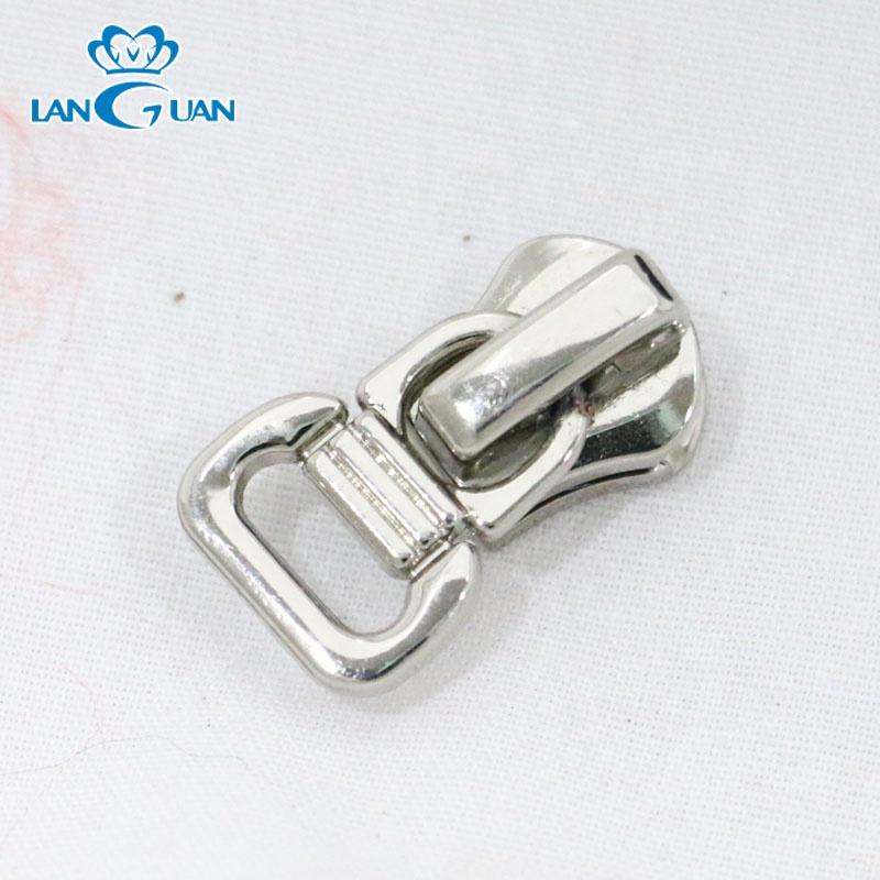 zinc alloy runner 7# nickel custom zipper head for handbag