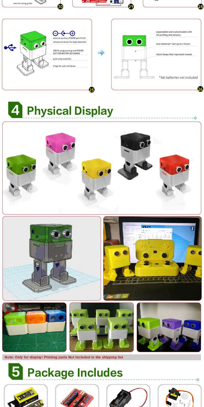 Electronic Parts DIY Kit for OTTO Robot DIY Beginner No Welding Required