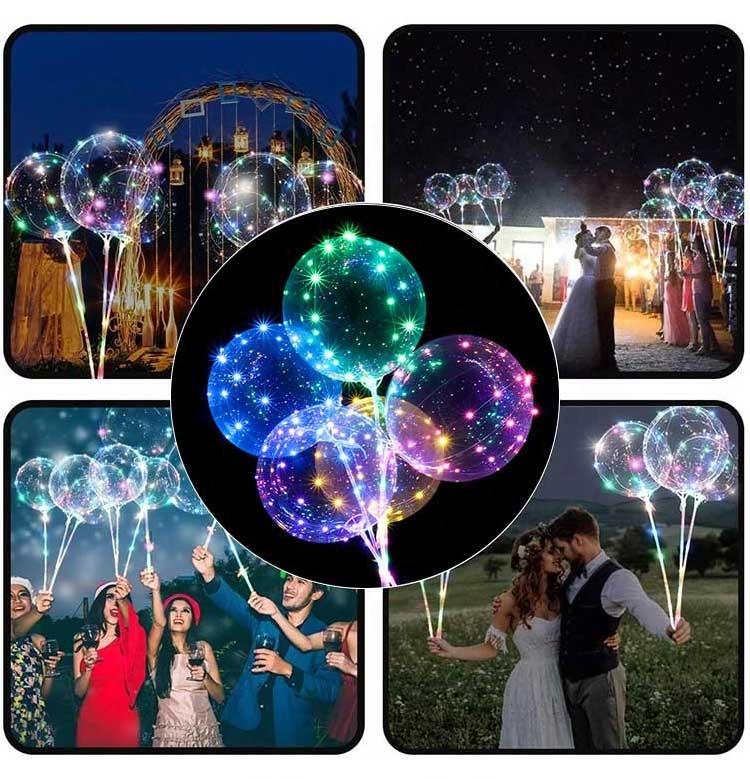 Bobo ballons, Лидер продаж, светодиодные шары с палкой для украшения вечеринки, Яркие мигающие шары, светящиеся балоны, 2020