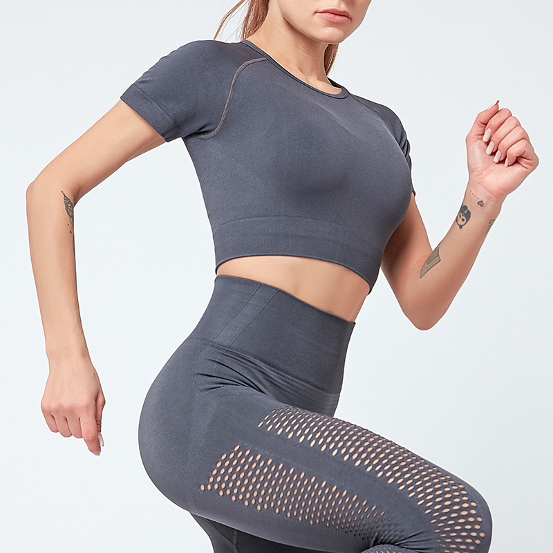 Ins Hot Women Quick Dry Breathable Yoga Short Sleeve Crop Top Comfortable Exercise Running Sports Leggings Sets 11