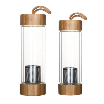 Double Wall High Borosilicate Glass Water Bottle WithTea Infuser and Bamboo Lid