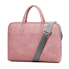 Fashionable design women's pink pu leather shoulder laptop bags