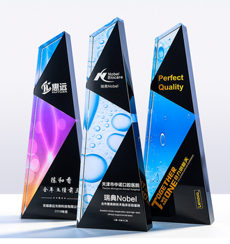 Custom Beautiful Crystal Star Trophy, Colorful Crystal Trophy