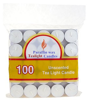 100 pack of 8 Hour Clear Cup Tealight Candles  In Clear Plastic Tealight Cups