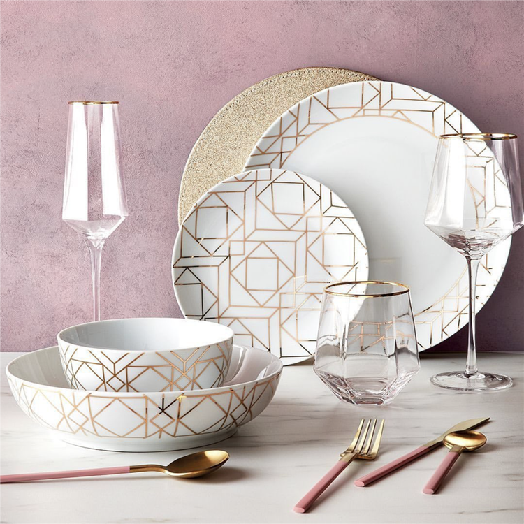 Modern design wholesale gold line geometric fancy ceramic dinner set for hotel