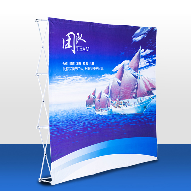 Advertising Foldable Straight Aluminum Frame Fabric Pop Up Display <strong>Stand</strong>