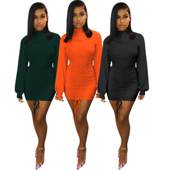 A91745 Women fashion dress clothes long Sleeves solid color casual Dresses lady fitness dresses fall new arrival 2019