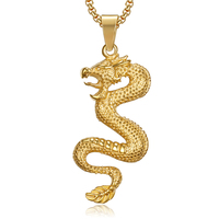 new arrived dragon pendant serpent gold metal necklace animal men pendant imperial jewelry