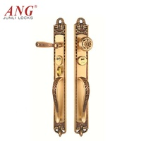 European hotel home office luxury rose gold push front gate door entrance bedroom bronze copper door lock with handles