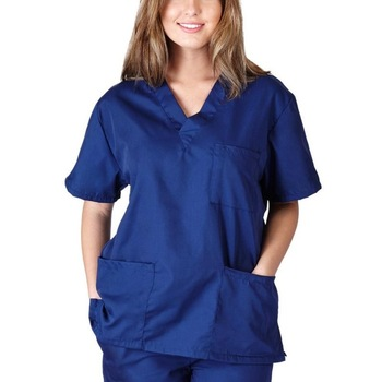 Wholesale 100% polyester solid color plus size short sleeve v-neck scrub Tops with pocket quick dry nurse uniform for women