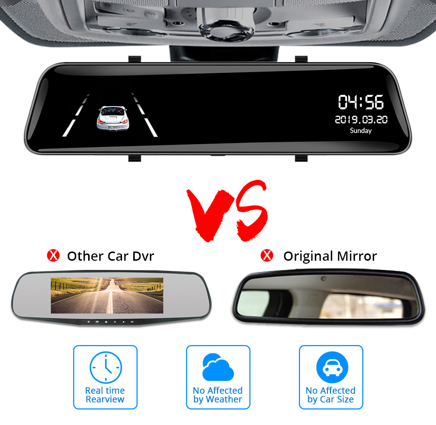 Car Dvr Full HD 1080P Stream Media RearView Mirror 12 Inch DashCam Night Vision Car Camera Dual Lens Auto Registrar