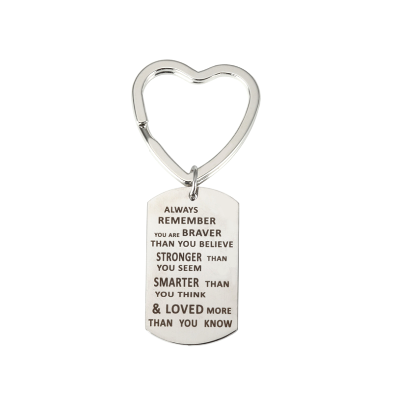 Cheapest Promotional Gifts Custom Heart Key-ring  Laser Engraving Metal Logo Keychain