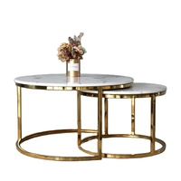 SANQIANG metal marble coffee table silver glass round mirrored coffee table