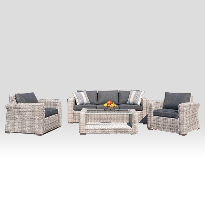 Taman patio tempat duduk baru yang elegan dan moden dengan meja Perabot luaran rotan anyaman rotan