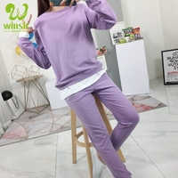 Custom logo Cotton Solid Purple Plain Two piece Sportswear Gym Jogger Sport Track Sweat Suits Costume Tracksuit Set For Women